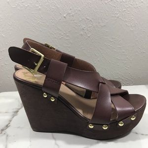 Fergalicious pair of wedge  leather sandals 6